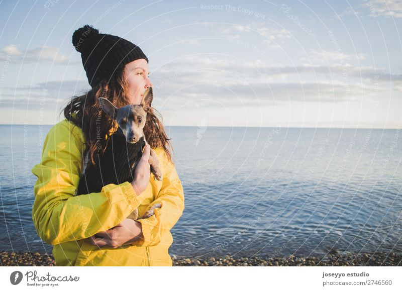 Woman with her little dog on the beach in winter Lifestyle Relaxation Trip Freedom Sun Beach Winter 30 - 45 years Adults Nature Animal Horizon Coast Jacket Coat