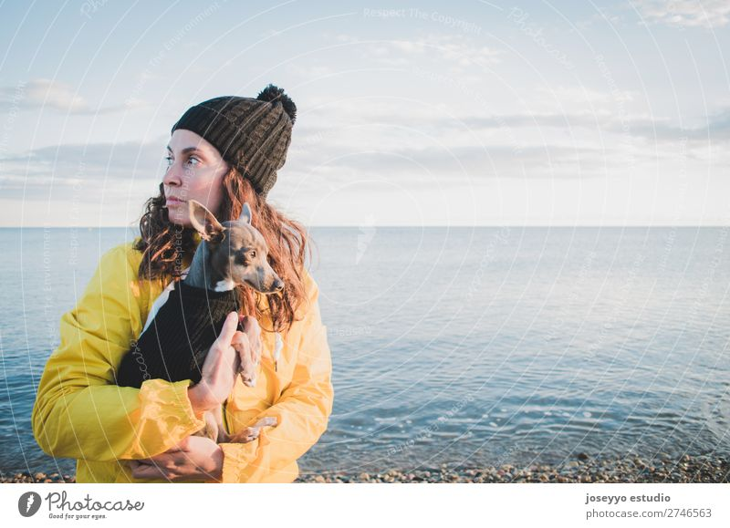 Woman with her little dog on the beach Nature Dog Sun Relaxation Animal Winter Beach Lifestyle Adults Yellow Love Coast Freedom Friendship Trip Horizon
