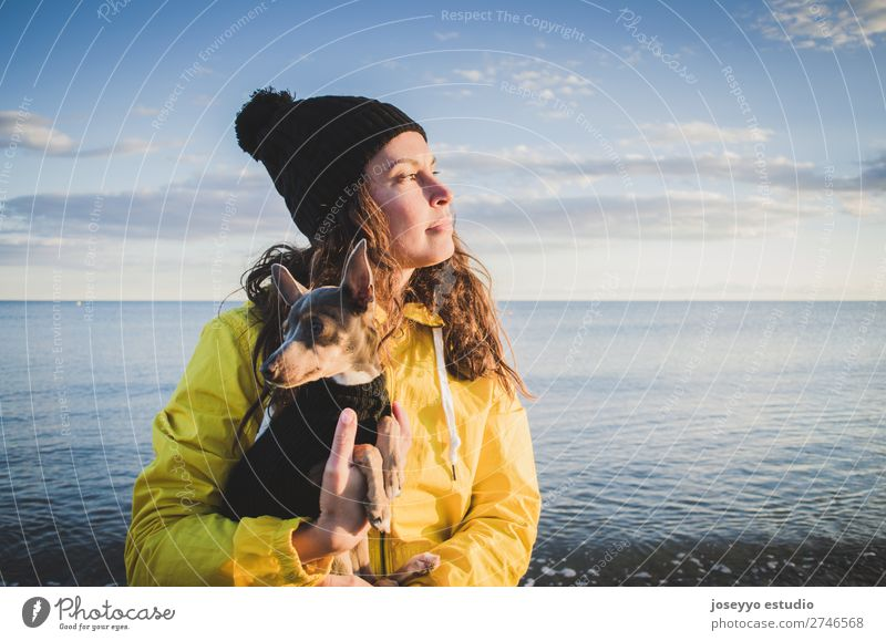 Woman with her little dog on the beach Lifestyle Relaxation Trip Freedom Sun Beach Winter 30 - 45 years Adults Nature Animal Horizon Coast Jacket Coat Hat Pet
