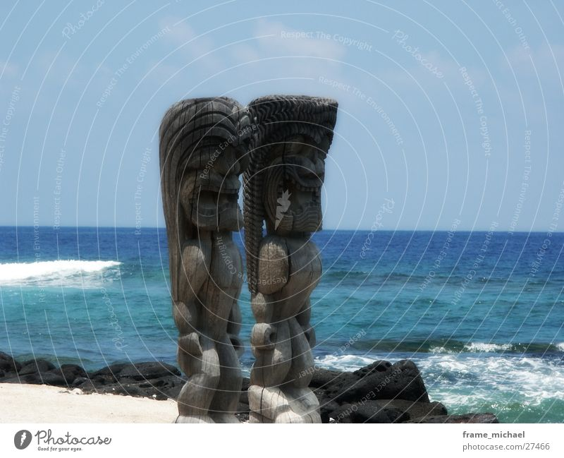 sculptures Sculpture Hawaii Beach Wood Polynesian Statue Coast Water