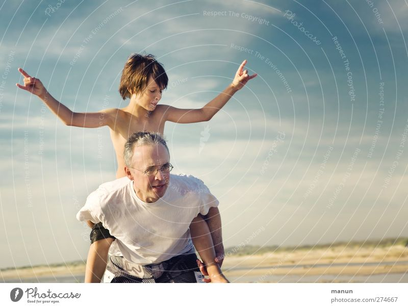 vacation job Playing Father with child Child Man Adults Parents Family & Relations Infancy Life 2 Human being 8 - 13 years 30 - 45 years Sky Summer Beach