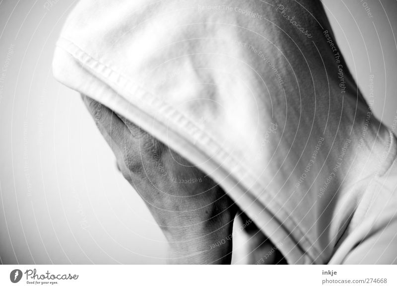Human being Hand Loneliness Life Emotions Head Sadness Moody Fear Grief Hide Fear of the future Distress Shame Hooded (clothing) Crisis