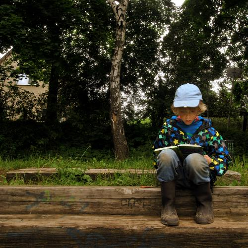 Human being Child Nature Tree Summer Plant Forest Environment Landscape Life Boy (child) School Infancy Sit Leisure and hobbies Book