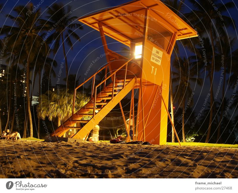 baywatch Beach Hawaii Night Long exposure rescue tower Bay watch