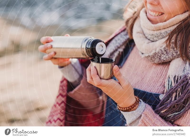 young woman enjoying nature iwith a hot drink Beverage Drinking Hot drink Coffee Tea Lifestyle Beautiful Face Relaxation Leisure and hobbies Vacation & Travel