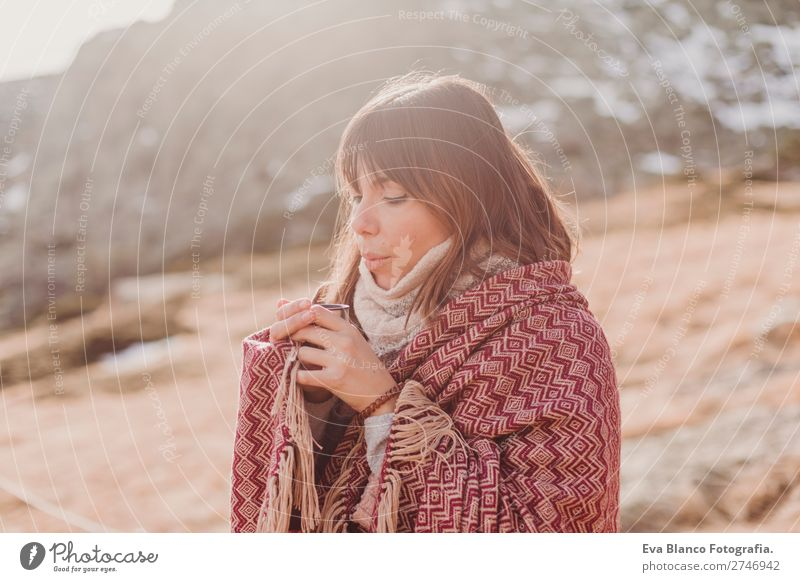 young woman in nature with a hot drink Woman Human being Vacation & Travel Nature Youth (Young adults) Beautiful Green White Landscape Relaxation Winter