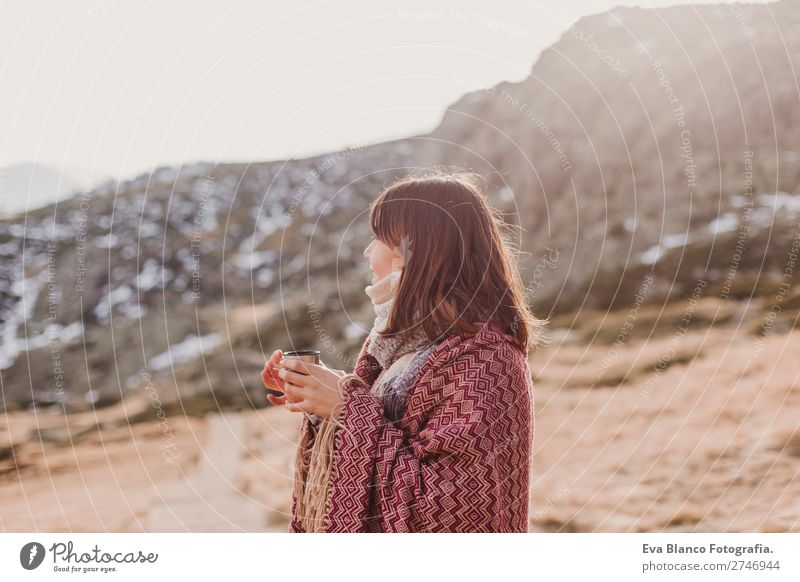 young womandrinking hot beverage in nature. sunset Beverage Hot drink Coffee Tea Lifestyle Beautiful Relaxation Vacation & Travel Tourism Trip Winter Snow