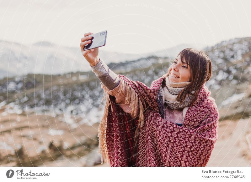 woman on the sunset in nature using mobile phone Woman Human being Sky Vacation & Travel Nature Youth (Young adults) Beautiful Landscape Hand Sun Winter