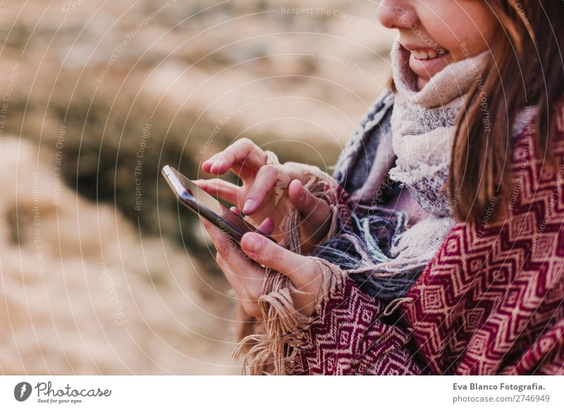 closeup view of a woman in nature with mobile phone Lifestyle Happy Beautiful Wellness Harmonious Vacation & Travel Freedom Summer Sun Beach Ocean Mountain