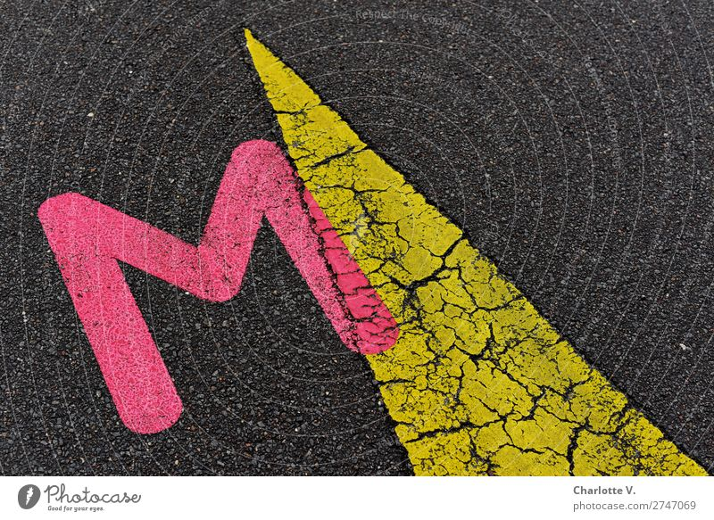Give me an M! Sign Characters Signs and labeling Arrow Esthetic Exceptional Elegant Together Yellow Pink Black Beginning Bizarre Colour Inspiration Puzzle