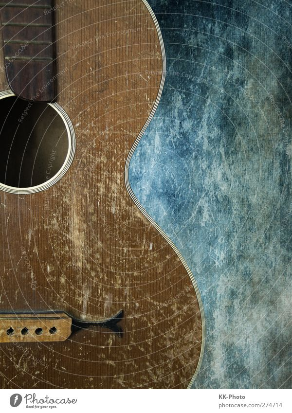 old guitar Lifestyle Design Playing Music Art Guitar Old Esthetic Dirty Simple Broken Retro Town Blue Brown White Contentment Time Colour photo Multicoloured