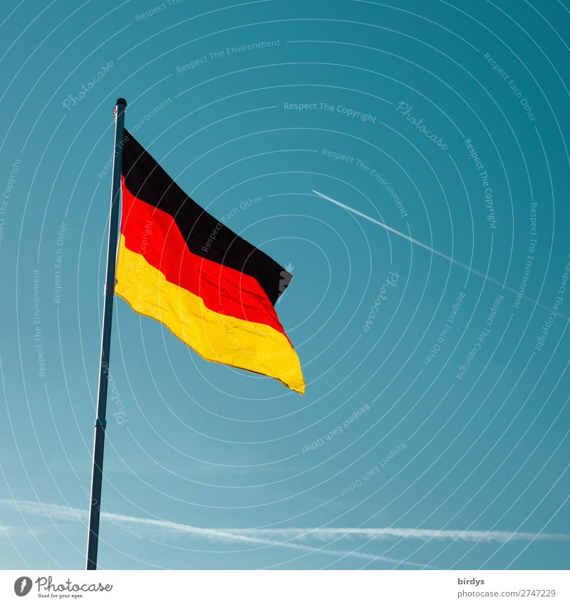 upward trend Cloudless sky Beautiful weather Wind German Flag Sign Illuminate Esthetic Authentic Success Fresh Positive Blue Gold Red Black Self-confident Power