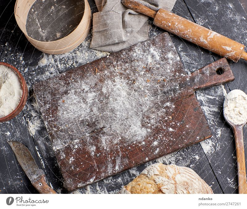 bread, white wheat flour, wooden rolling pin Dough Baked goods Bread Bowl Spoon Table Kitchen Sieve Wood Make Dark Fresh Above Brown Black White Tradition
