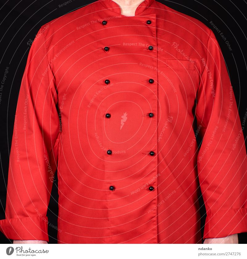 fragment of a red uniform with black buttons Style Kitchen Restaurant Work and employment Profession Cook Human being Man Adults Fashion Clothing Shirt Suit
