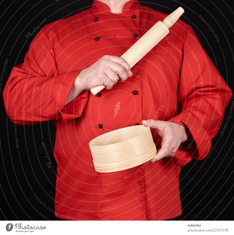 cook in a red uniform holding Style Kitchen Restaurant Work and employment Profession Human being Man Adults Hand Clothing Shirt Suit Jacket Sieve Wood Red