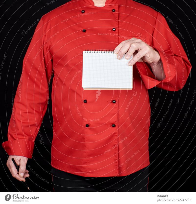 chef in red uniform holding a blank notebook Kitchen Restaurant Work and employment Profession Cook Human being Man Adults Hand Clothing Shirt Suit Jacket Paper