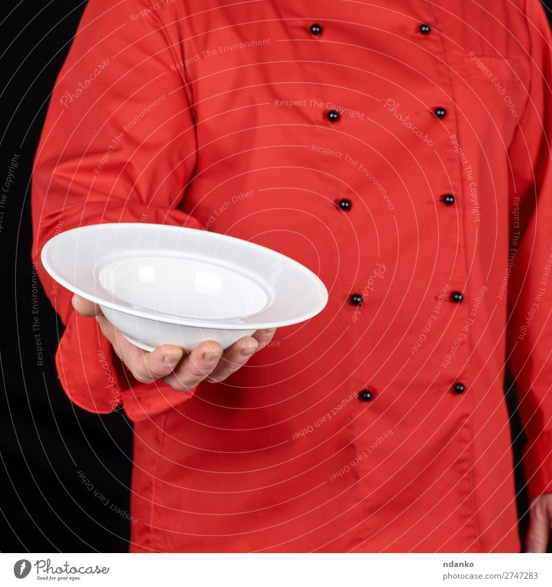 round white plate for soup Human being Man White Red Hand Dish Dark Black Adults Body Kitchen Clean Profession Indicate Restaurant Plate