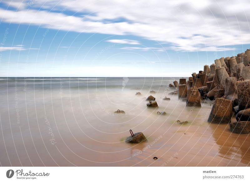 Sky Blue Water Ocean Landscape Sand Horizon Brown Weather Beautiful weather Concrete block