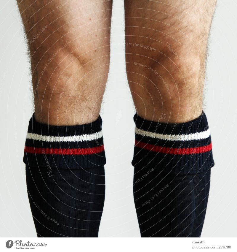 soccer player Human being Man Adults Skin Legs 1 Athletic Stockings Hair Colour photo Detail Men's leg Hairy legs Knee Sock Knee cap Sportswear