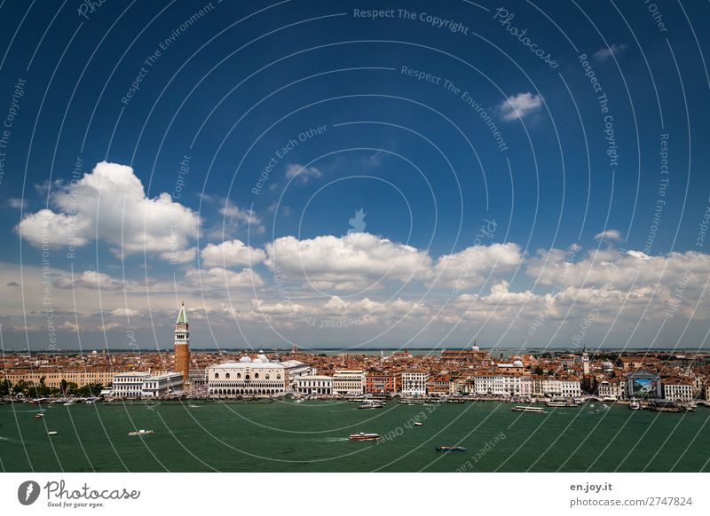Sky Vacation & Travel Summer Clouds Far-off places Tourism Watercraft Horizon Church Beautiful weather Italy Climate Tower Tourist Attraction Skyline Landmark