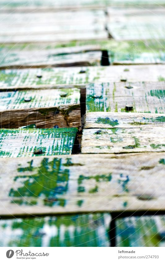 footbridge Deserted Harbour Footbridge Lanes & trails Wood Metal Rust Old Sharp-edged Broken Green Effort Decline Transience Wooden board Nail Column Weathered