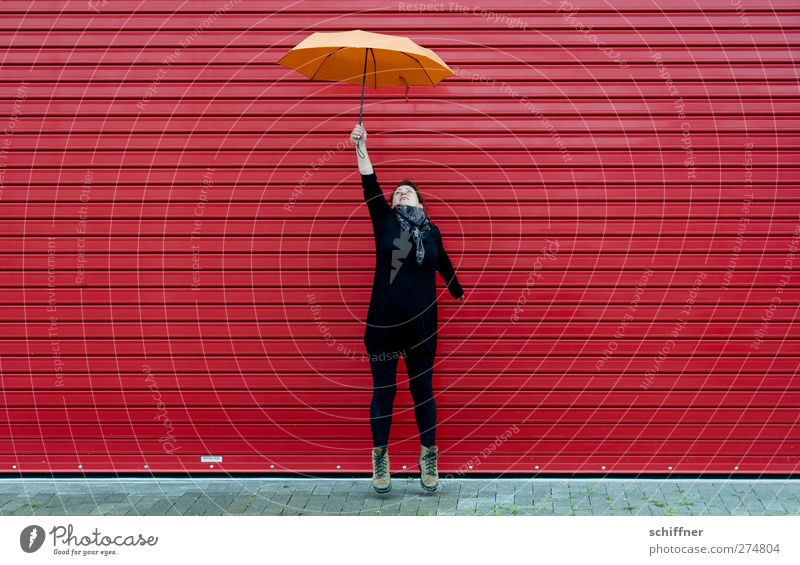 Human being Woman Youth (Young adults) Red Adults Feminine Young woman Jump Orange Weather Flying Tall Free Crazy To hold on Stop