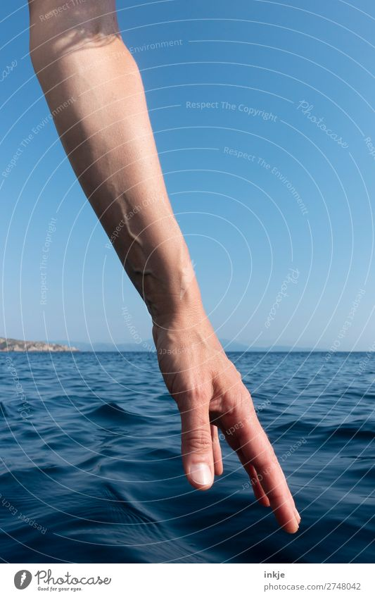 Woman Human being Vacation & Travel Summer Blue Beautiful Hand Ocean Adults Life Emotions Waves Authentic Arm Beautiful weather Touch