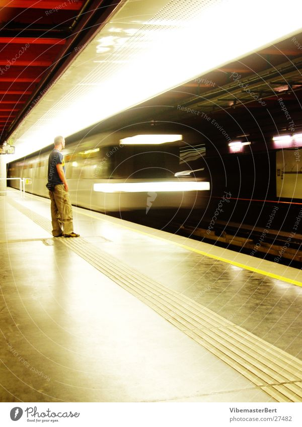 Man and subway Underground Vienna London Underground Mobility Speed Transport Human being