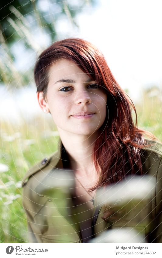 Bokeh Laura. Human being Feminine Young woman Youth (Young adults) 1 18 - 30 years Adults Nature Landscape Plant Grass Esthetic Bright Green Red Red-haired