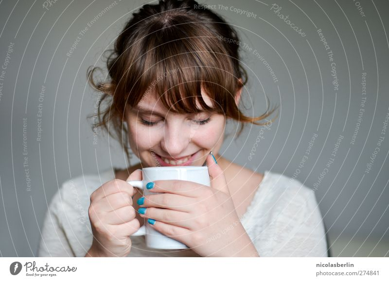 Youth (Young adults) Beautiful Relaxation Feminine Eroticism Life Laughter Happy Young woman Dream Contentment Happiness Beverage Coffee Soft Drinking