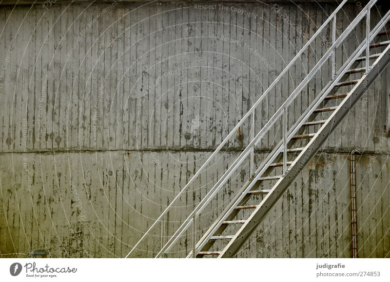 Hirtshals Industrial plant Manmade structures Wall (barrier) Wall (building) Stairs Facade Harbour Concrete Metal Cold Gloomy Gray Tank Colour photo
