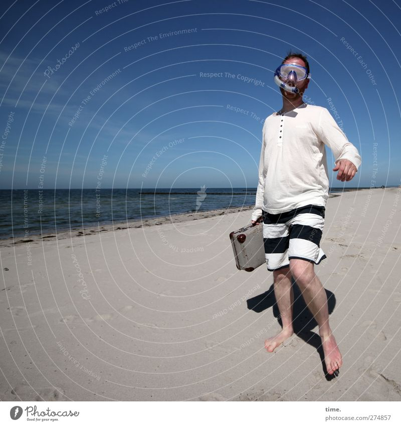 Hiddensee. A man goes his own way. Human being Man Adults 1 30 - 45 years Environment Nature Sand Water Sky Horizon Beautiful weather Coast Beach Suitcase