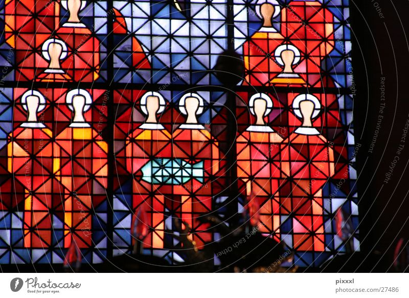 Heads in the church window Church window Red Religion and faith Painting and drawing (object) Abstract Background picture Window Light Historic Holy Blue