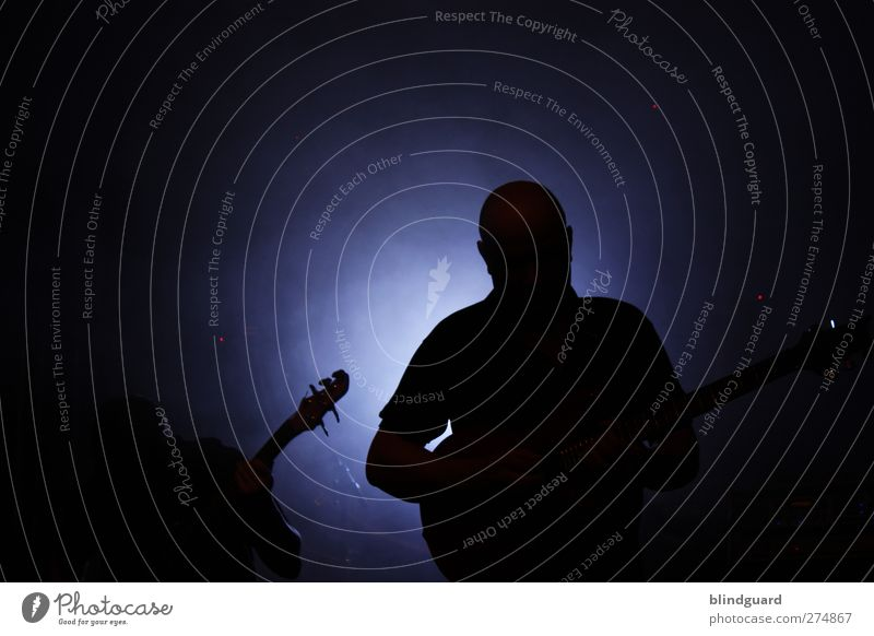 Two Silhouettes Human being Man Adults 2 Artist Music Concert Stage Band Musician Guitar Playing Blue Black White Event Feasts & Celebrations Double bass