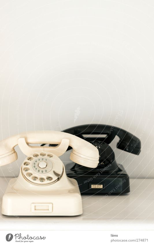 White Black Bright Esthetic Telecommunications Telephone Connection Select Wired Rotary dial
