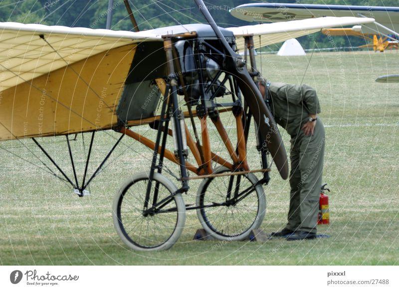 Man Meadow Airplane Aviation Retro Floor covering Wing Airport Wheel Machinery Repair Pilot