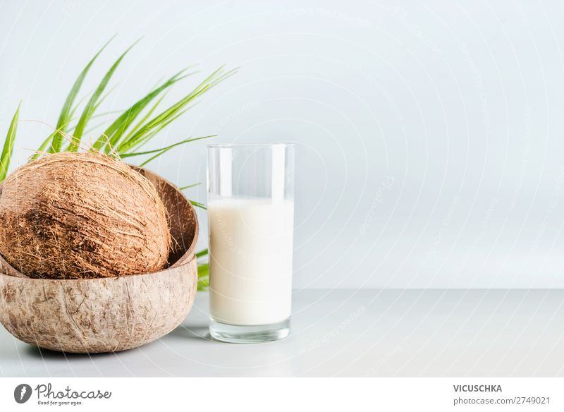 Coconut milk in glass with whole coconut Food Nutrition Organic produce Vegetarian diet Diet Beverage Milk Shopping Healthy Healthy Eating Design