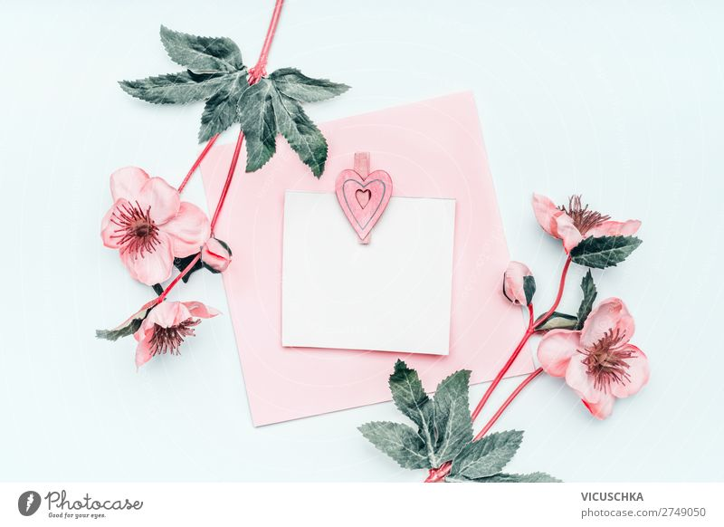 Greeting card with flowers Style Design Decoration Party Event Feasts & Celebrations Mother's Day Wedding Birthday Flower Bouquet Heart Love Pink White