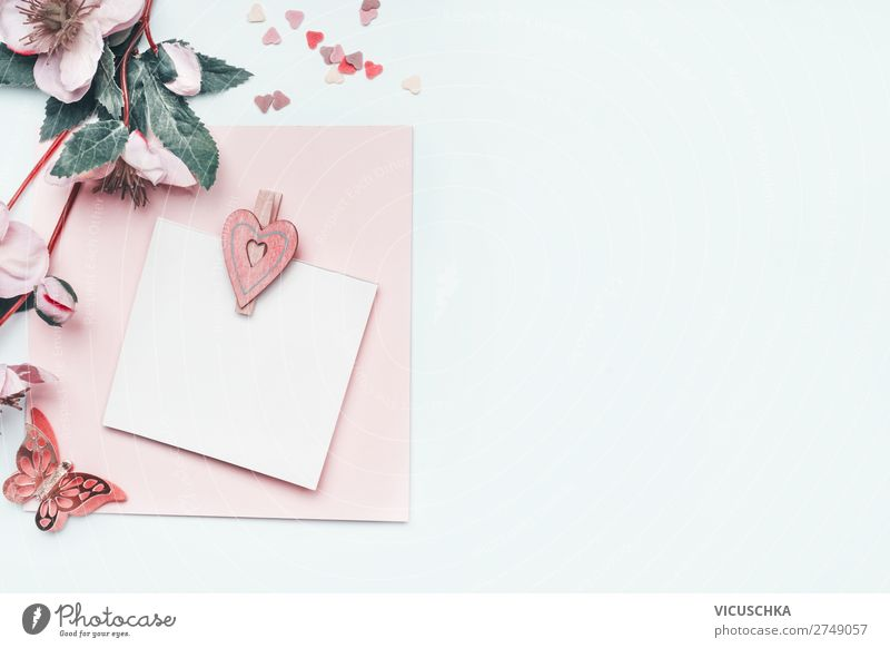 Empty greeting card with pastel pink heart and flowers Style Design Joy Decoration Feasts & Celebrations Valentine's Day Mother's Day Wedding Birthday