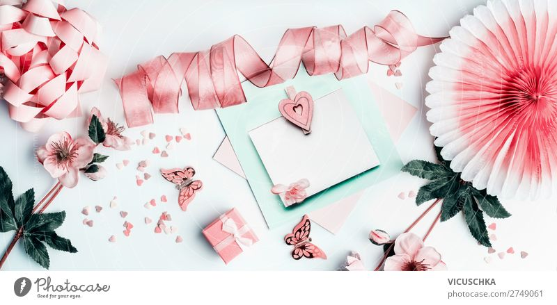 Gift card with heart and pastel pink decoration Shopping Design Joy Party Feasts & Celebrations Valentine's Day Mother's Day Easter Wedding Birthday Flower