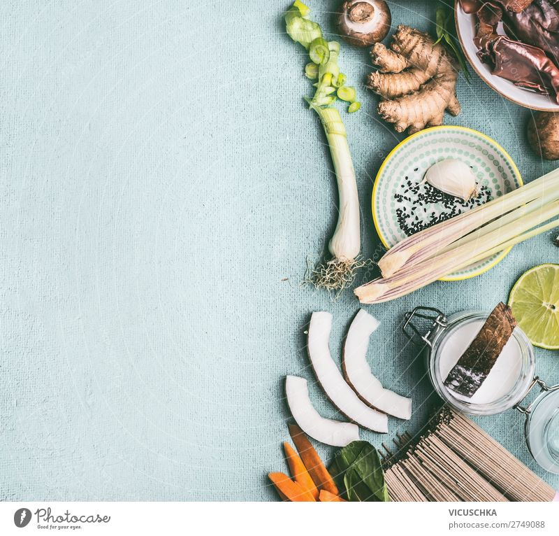 Ingredients for Asian dishes Food Vegetable Herbs and spices Nutrition Asian Food Crockery Style Design Table Restaurant Chinese Thai Cooking Vegan diet Chili