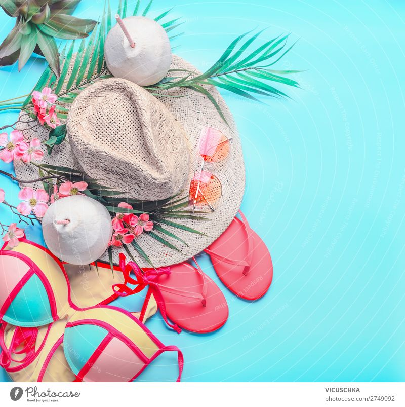 Vacation & Travel Summer Ocean Beach Background picture Feminine Style Tourism Pink Design Footwear Adventure Summer vacation Hip & trendy Hat Turquoise