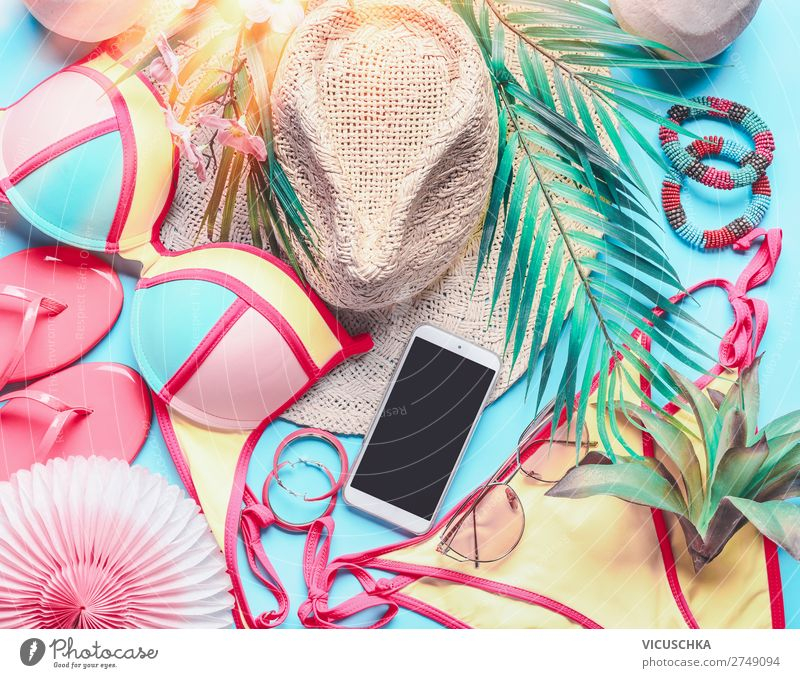 Vacation & Travel Summer Ocean Beach Feminine Style Tourism Design Summer vacation Hip & trendy Hat Sunglasses PDA Bikini Accessory Tropical