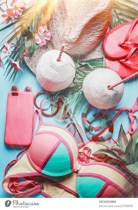 Beach Accessories with Smartphone and Coconut Longdrink Cocktail Lifestyle Design Vacation & Travel Summer Summer vacation Sun Sunbathing Party PDA Feminine