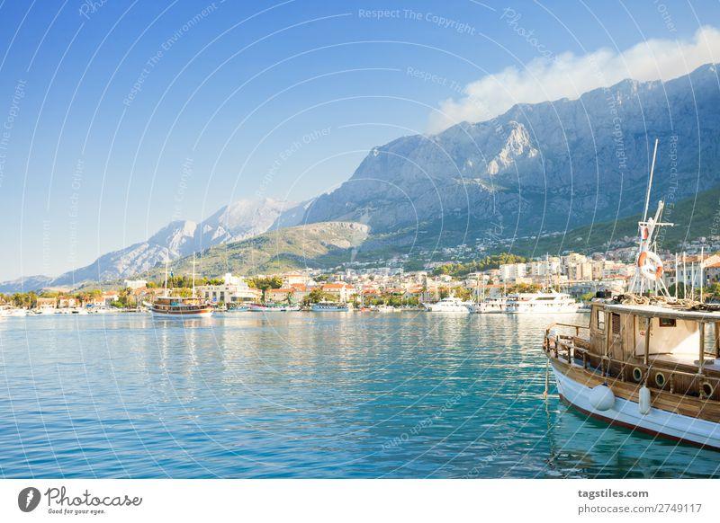 Makarska, Dalmatia, Croatia Adriatic Sea Bay Watercraft Town Coast Europe Fishing village Harbour Historic Landscape Mediterranean sea Mountain Nature Rock