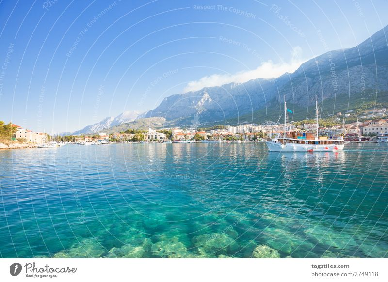 MAKARSKA, CROATIA Adriatic Sea Bay Beach Coast Croatia Dalmatia Dreamily Fishing village Harbour Idyll Landscape Beautiful Makarska Mediterranean sea Mountain