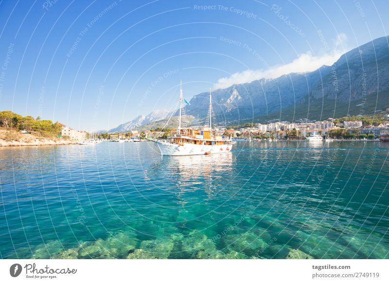 Makarska, Dalmatia, Croatia, Europe Adriatic Sea Bay Beach Coast Dreamily Fishing village Harbour Idyll Landscape Beautiful Mediterranean sea Mountain Nature
