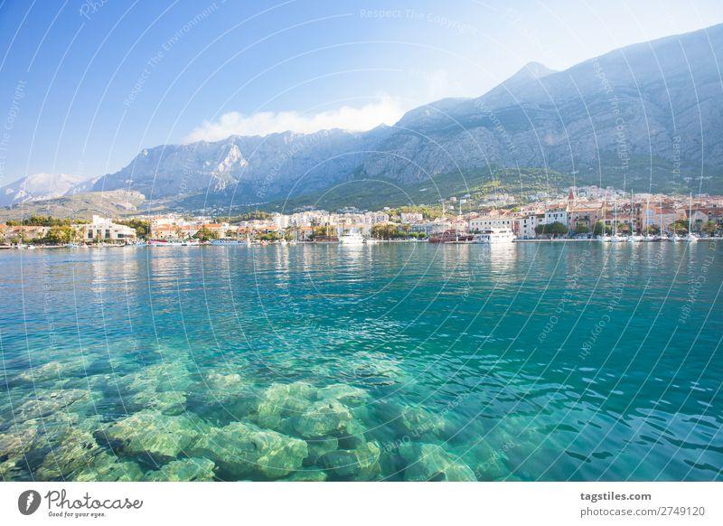Makarska, Dalmatia, Croatia Adriatic Sea Bay Beach Town Coast Dreamily Fishing village Harbour Idyll Landscape Mediterranean sea Mountain Nature Promenade Ocean