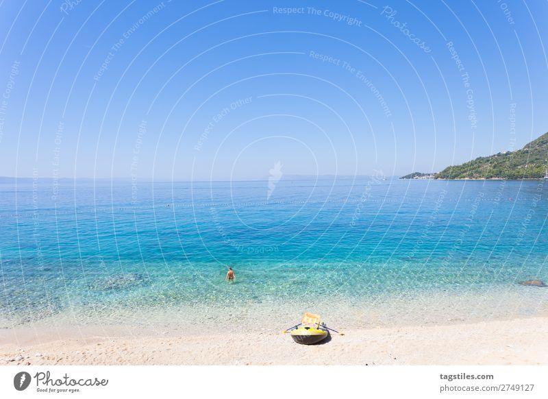 DRASNICE, DALMATIA, CROATIA Adriatic Sea Swimming & Bathing Bay Beach Watercraft Cloudless sky Coast Croatia Dalmatia Drasnice Infinity Gravel Horizon Idyll