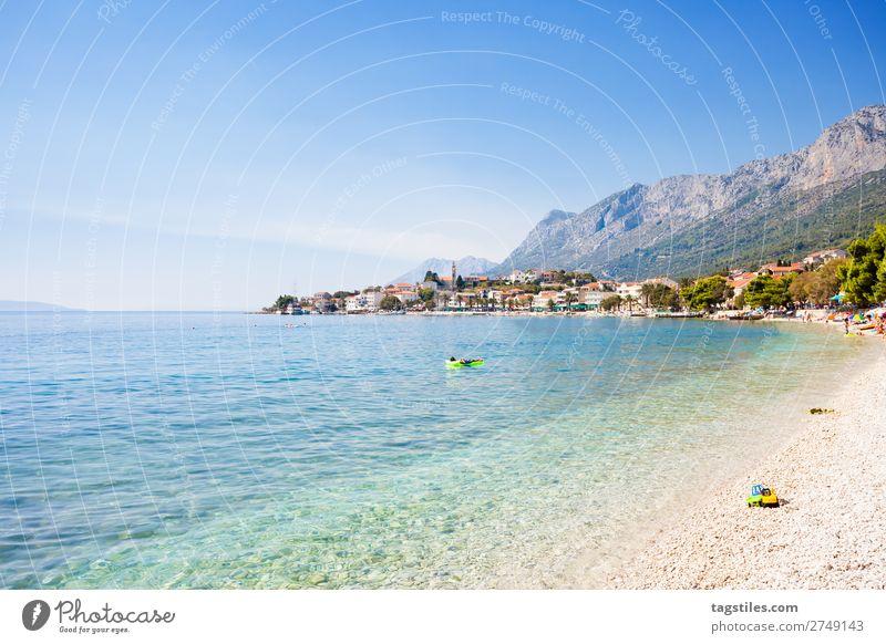 GRADAC, CROATIA Adriatic Sea Air mattress Bay Beach Coast Croatia Dalmatia Fishing village Gradac Gravel Sand Idyll Landscape Mediterranean sea Mountain Nature